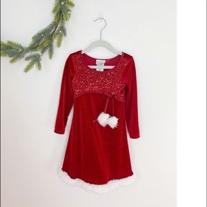 Christmas Dress 3T Iris & Ivy Red Sequin Santa